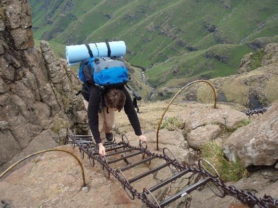 Drakensberg Amphitheatre Chain Ladder Looking Down