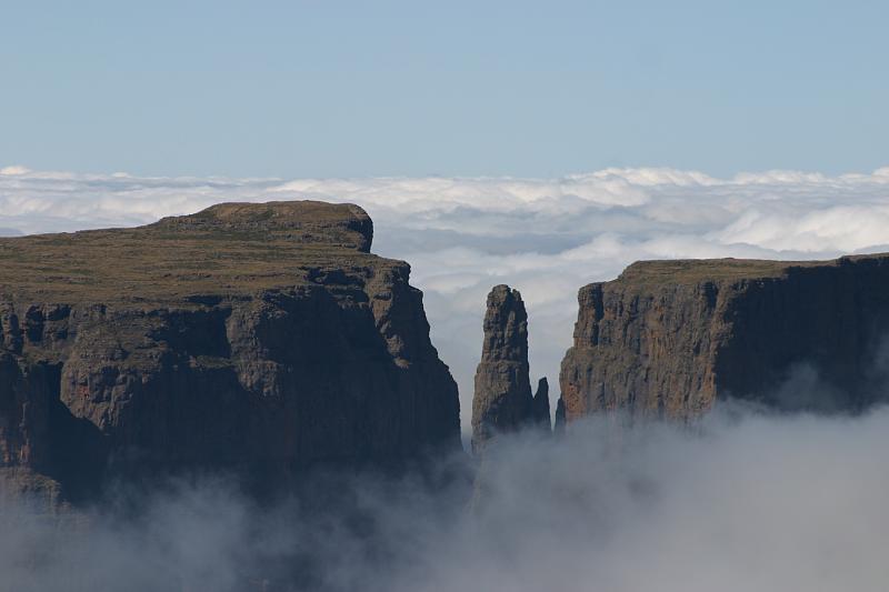 Drakensberg Amphitheatre Through Clouds